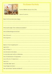English Worksheet: The Boston Tea Party