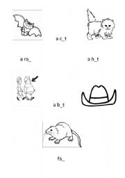 English Worksheets: Fill missing letters and then match
