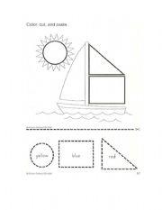 math worksheet : english worksheet color the shapes : Color Cut And Paste Worksheets For Kindergarten