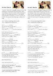 English Worksheets: You don�t own me - easy song (film Dirty dancing )
