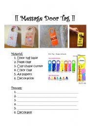 English Worksheets: Arts&Craft:Door Tag
