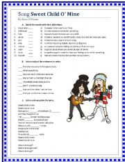 English Worksheet: Song Sweet Child O´ Mine - Guns N´ Roses