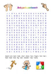 English Worksheets: body and head wordsearch
