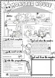 English Worksheets: monster house