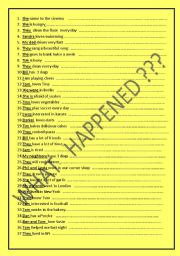 English Worksheets: What happened ? 30 sentences direct questions