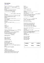 English Worksheet: The Lazy song-Bruno Mars