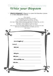 English Worksheets: biopoem