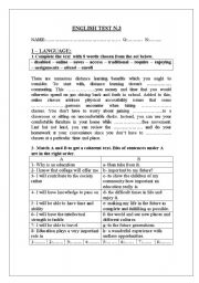 English worksheet: 3rd form mid-term test 3