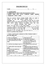 English Worksheet: 3rd form mid-term test 3