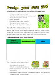 English Worksheets: DESIGN YOUR OWN ZOO!