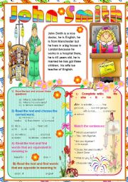English Worksheets: Reading comprehension about John Smith