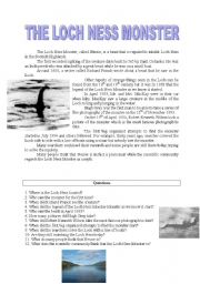 The Loch Ness Monster~Reading Comprehension