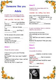 English Worksheet: Filling in song : Someone like you  (Adele) - with B&W copy and answer key