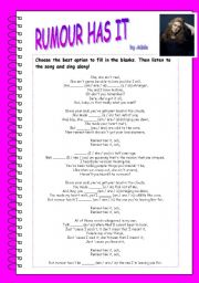 English Worksheets: RUMOUR HAS IT - song by Adele