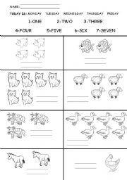 English Worksheet: farm animals and numbers