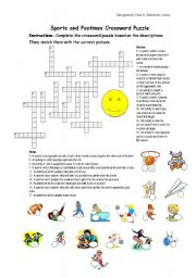 English Worksheet: Sports and Pastimes Crossword Puzzle