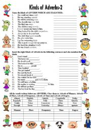 english worksheets kinds of adverbs 2 editable b w version answer key. Black Bedroom Furniture Sets. Home Design Ideas