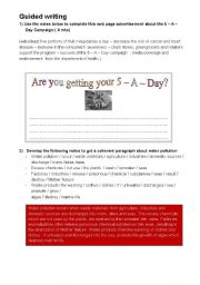 English Worksheet: Guided writing tasks for 4th year Tunisian students ( part 2 )