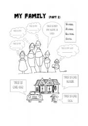 English Worksheet: My family II- Kindergarten level