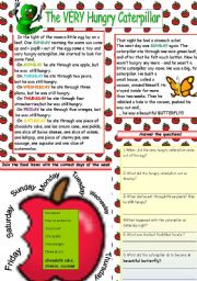 English Worksheet: THE VERY HUNGRY CATERPILLAR (TEXT+TASKS)