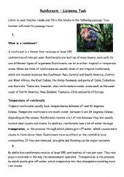 English Worksheet: Rainforests listening task