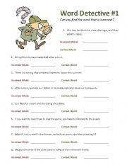 English Worksheets: Word Detective #1