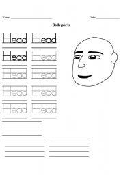 English Worksheet: HANDWRITING BODY PART