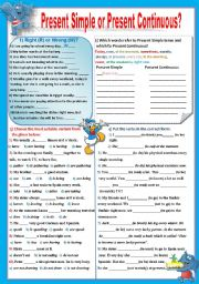 English Worksheet: Present Simple or Present Continuous (KEY included)