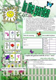 English Worksheet: In the garden