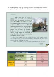 English Worksheets: A letter in the past