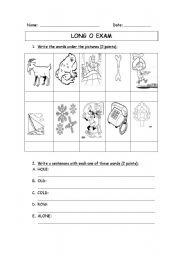 English worksheet: Long o sound