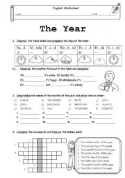 English Worksheet: The year (months, days of the week, the weather and ordinal numbers)
