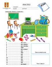 English Worksheet: There is - There are (Classroom Objects)