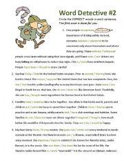 English Worksheet: Word Detective #2