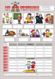 English Worksheet: My school timetable