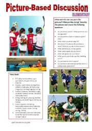 English Worksheet: Picture-based discussion Elementary - (12) Sports