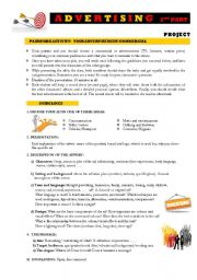 English Worksheet: ADVERTISING 2nd part: Project