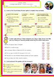 English Worksheet: English is Everywhere -- Listening Comprehension