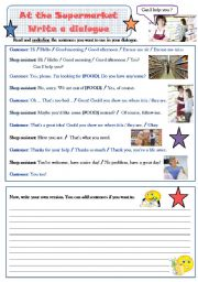 English Worksheet: At the Supermarket - Write and act a dialogue (reading/writing/speaking)
