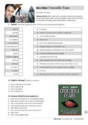 English Worksheets: Alex Rider: Crocodile Tears