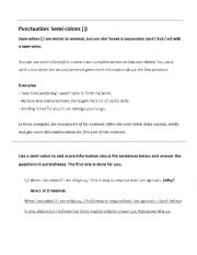 English teaching worksheets: Colon and semicolon