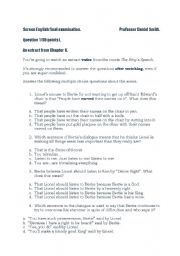 The King´s Speech examination paper (2)
