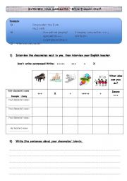English Worksheet: TALENTS: Interview your classmates and your teacher!