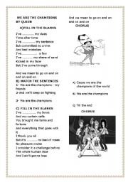 English Worksheets: we are the champions by queen