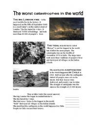 English Worksheets: The worst catastrophes in the world