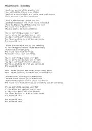 English Worksheet: Teaching with the songs 2. Alanis Morissette - Everything (key included)