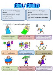 English Worksheet: can-could