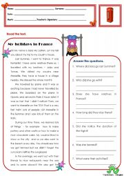 English Worksheets: My holidays