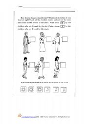 English Worksheets: night and day