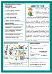 English Worksheets: Leisure Time